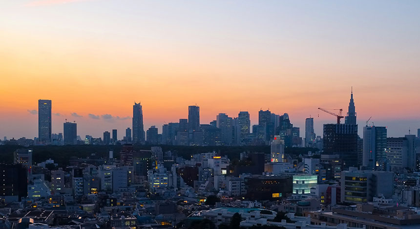 渋谷から見た新宿方面の景色